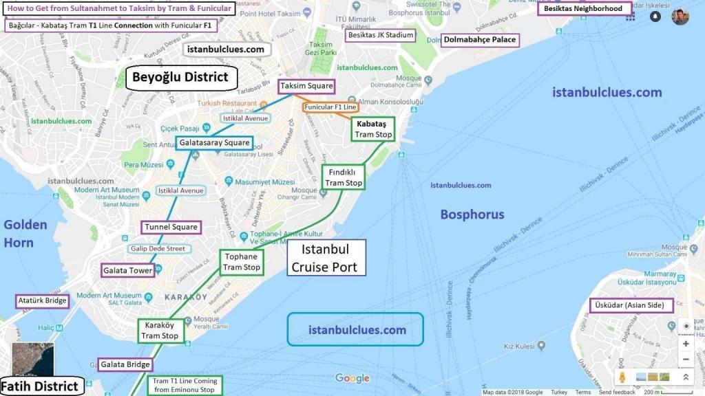 Istanbul Tourist Maps Beyoglu (Taksim)