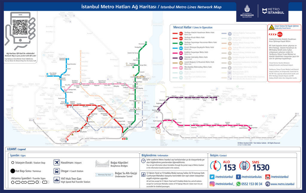 Istanbul Metro Map 2020 and 2021