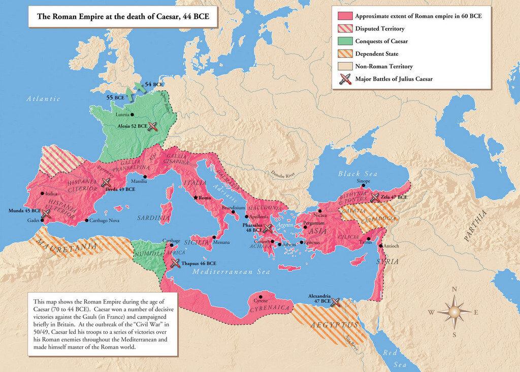 Roman Empire Map under Julius Caesar